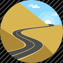 cityscape, desert, landforms, road landscape, valley icon