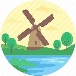 buildings, ecology, industry, mill, windmill icon