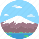 landscape, mountain, snow, snow mountain, summit mountain icon
