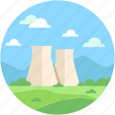 industry, landscape, nature, nuclear, nuclear plant icon