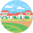 farmhouse, garden, rural, town, village icon