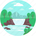 environment, landforms, river, terrain, valley icon