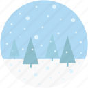 landscape, nature, scenery, snowing, winter icon