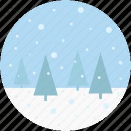 landscape, nature, scenery, snowing, winter icon