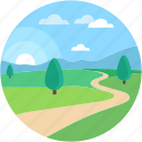 dirt road, farm road, field road, scenery, wallpaper icon