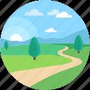 scenery, dirt road, wallpaper, field road, farm road icon