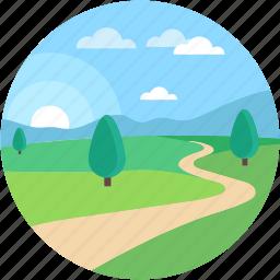 dirt road, farm road, field road, scenery, wallpaper icon