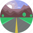 climax, greenery, narrow farm, road scenery, sunshine icon
