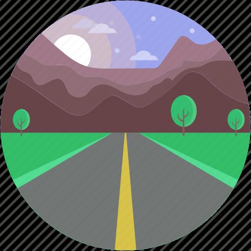 climax, greenery, narrow farm, road scenery, sunshine icon