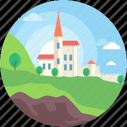 farmhouse, garden, rural, town, village icon