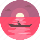 boat, evening, river, scenery, sunset icon