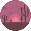 cactus, desert, nature, sunset, sunshine icon