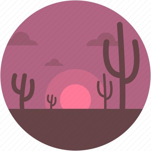 cactus, desert, nature, sunset, sunshine icon