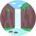 cliff, landscape, ocean cliff, waterfall, waterfall scenery icon