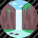 cliff, landscape, ocean cliff, waterfall, waterfall scenery