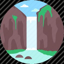 cliff, landscape, ocean cliff, waterfall, waterfall scenery icon