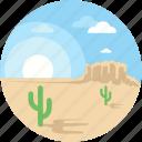 cactus, cityscape, desert, landscape, sun icon