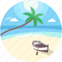 beach, boat, sea boat, sea landscape, seaside icon