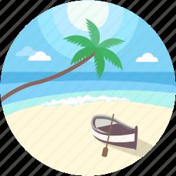 beach, boat, sea boat, sea landscape, seaside icon