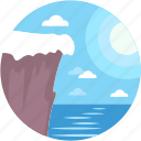 caution, cliff, landscape, ocean cliff, rocky cliff icon