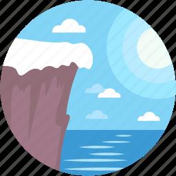caution, cliff, landscape, ocean cliff, rocky cliff icon