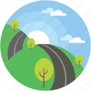 cloudy, landscape, road, scenery, sunraising icon