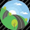 scenery, cloudy, landscape, road, sunraising icon