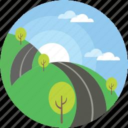 cloudy, landscape, road, scenery, sunraising icon