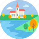 lakeside, landforms, river, seaside, valley icon