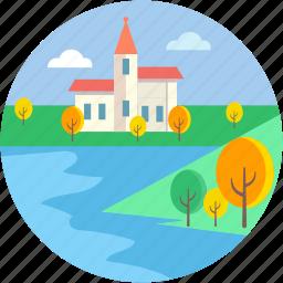 lakeside, landforms, river, seaside, valley icon