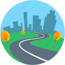 cityscape, desert, landforms, road landscape, trees icon