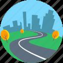 cityscape, desert, landforms, road landscape, trees