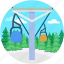 aerial lift, chairlift, chairlift landscape, detachable, ropeway icon