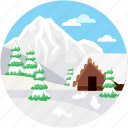 arctic mountains, midwinter, ski lodge, winter, winter mountain icon