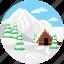arctic mountains, midwinter, ski lodge, winter, winter mountain icon