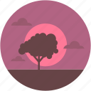 dawn, evening view, nature, sunset landscape, tree icon