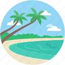 beach, blowing ocean, island, sea landscape, seaside icon