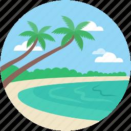 beach, blowing ocean, island, sea landscape, seaside icon