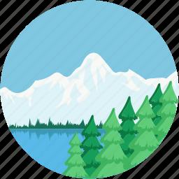 lakeside, landforms, river, terrain, valley icon