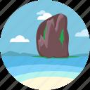 beach resort, andaman, railay mountain, seaside, railay beach icon