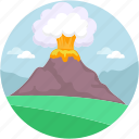 danger, earthquake, erupt, eruption, mountain explosion icon