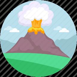 danger, earthquake, erupt, eruption, mountain explosion icon