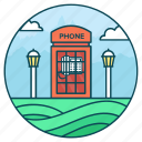 call booth, callbox, phone cabin, public booth, public phone, telephone booth