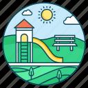 amusement park, play area, playground, playpark, recreation ground icon