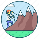 adventure, climbing, exploring, hiking, mountain climbing icon