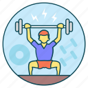 bodybuilding, exercise, fitness, gym, strong muscle, weightlifting icon