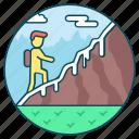 adventure, climbing, exploring, hiking, hitchhiking icon