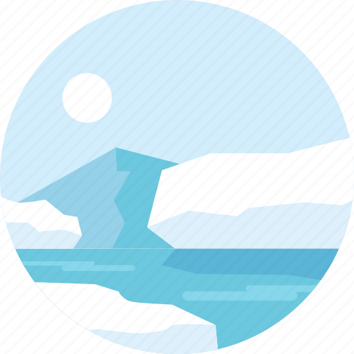 hills, island, landscape, mountain, ocean, sea, travel icon