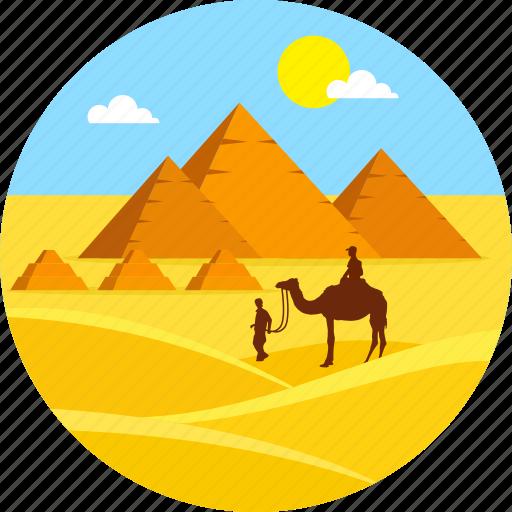 beach, camel, desert, egypt pyramid, landscape, summer, travel icon