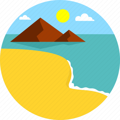 beach, island, landscape, ocean, summer, tourism, travel icon